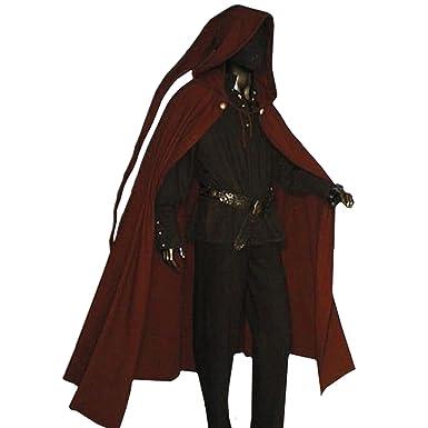 Herren Damen Lang Mantel Umhang Mittelalterlich Vampir Halloween Kostüm Neu