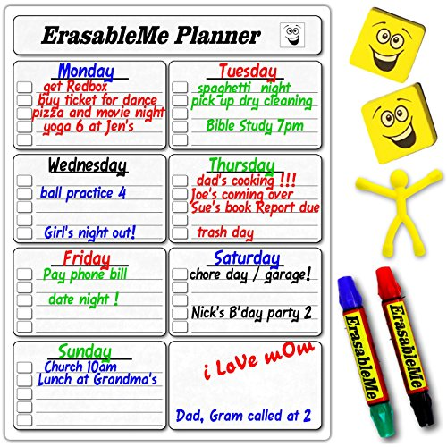 Dry Erase Planner for Chores, Grocery Lists, Weekly - Dry Erase Table Tents