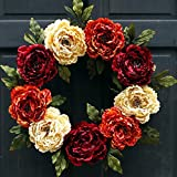 Summer Fall Peony Wreath for Thanksgiving Front Door Decor; Burgundy Red, Cream and Orange Rust; 24 Inch
