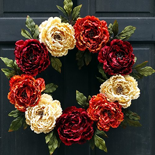 (Artificial Peony Fall Thanksgiving Summer Wreath for Front Door Decor; Burgundy Red, Cream and Orange Rust; 24)