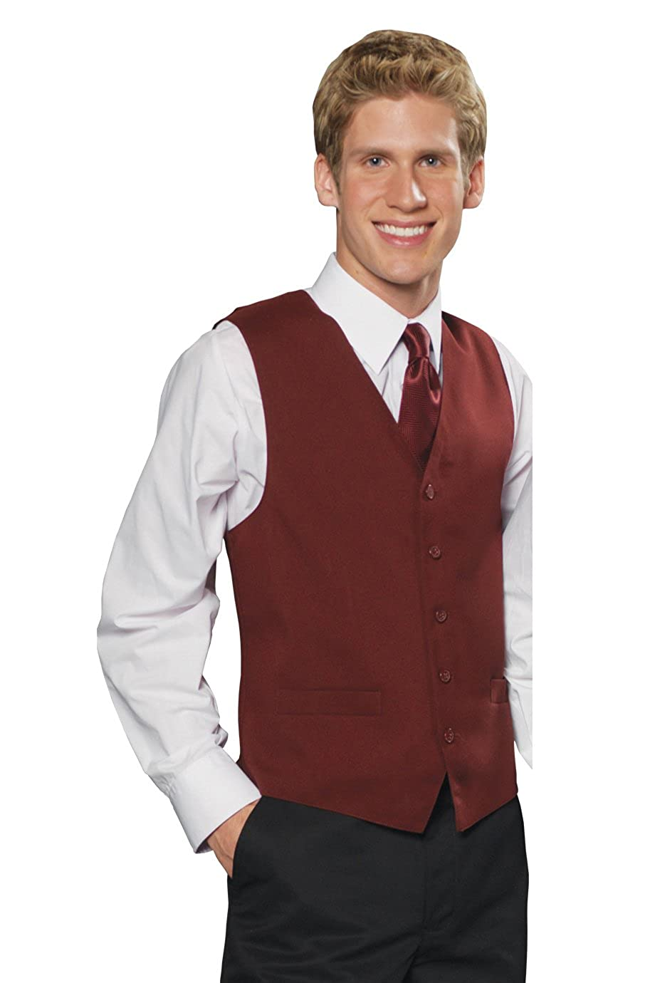 Edwards Garment Mens Textured Weave Fully Lined Economy Vest M L Burgundy