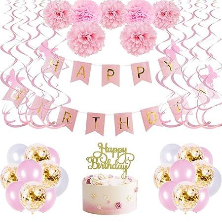 Easy Joy - Decoración para cumpleaños de niña Rosa y Dorada ...