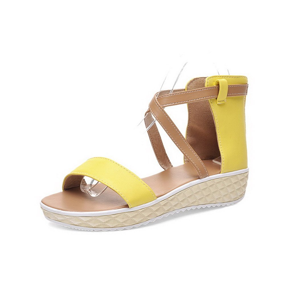 AllhqFashion Women's Assorted Color PU Low-heels Open Toe Zipper Wedges-Sandals, Yellow, 36