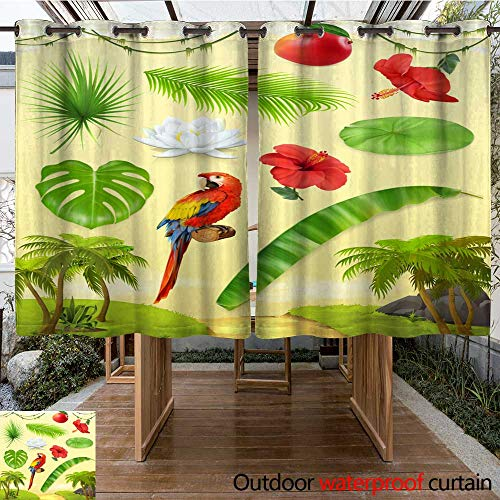(Outdoor Balcony Privacy Curtain Jungle Palm Banana Mango Parrot Water Lily Hibiscus Set of Leaves and Flowers Tropical Plants d Vector icon Set W108 x L72)