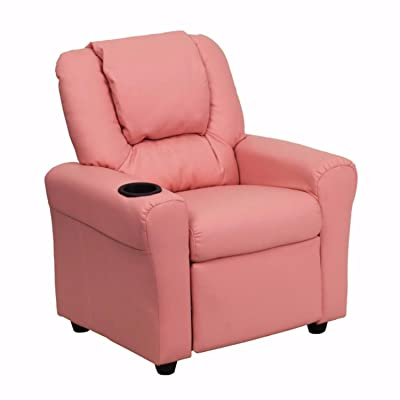 Offex Contemporary Pink Vinyl Kids Recliner with Cup Holder and Headrest: Kitchen & Dining