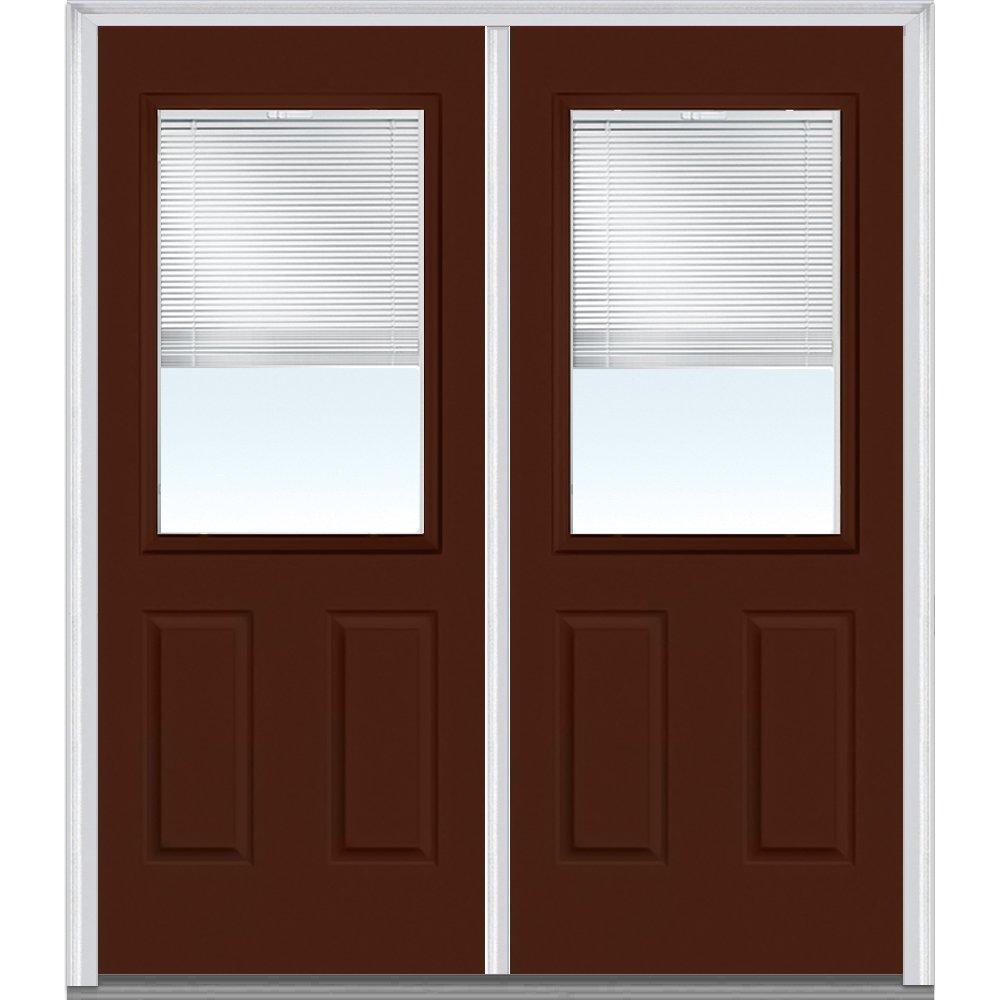 National Door Company Z010141L Steel Redwood, Left Hand In-swing, Prehung Door, 1/2 Lite 2-Panel, Clear Glass with RLB, 72'' x 80''