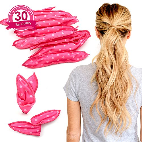 Sleeping Foam Hair Curlers - Fomei Soft Sponge Hair Rollers for Women & Girls, DIY Sponge Hair Styling Rollers Tools for Long, Short, Thick & Thin Hair, No Heat Pillow Hair Rollers Curlers (30pc pink) by Fomei