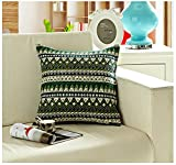 TAOSON Green Classic Bohemian Style Antique Cotton Blend Linen Sofa Throw PillowCase Cushion Cover Pillow Cover with Hidden Zipper Closure Only Cover No Insert 24x24 Inch 60x60cm