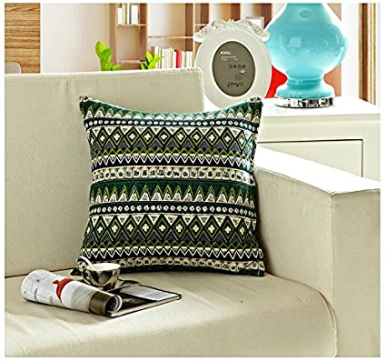 TAOSON Red Classic Bohemian Style Antique Cotton Blend Linen Sofa Throw PillowCase Cushion Cover Pillow Cover with Hidden Zipper Closure Only Cover No Insert 24x24 Inch 60x60cm COMIN16JU011287