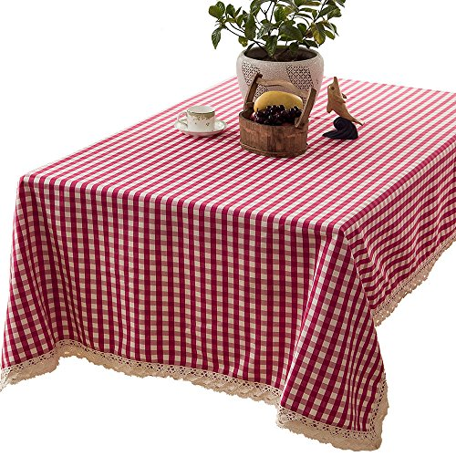 R.LANG Yarn Dyed Fine Grid Fabric Lace Spillproof Tablecloth Deep Rose Red 60-Inch ()