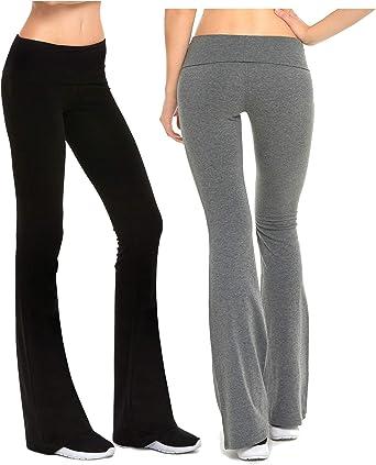 Women Yoga Pants Foldover Stretch Comfy Soft Flare Wide Leg Leggings Trousers P1