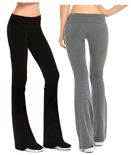 4538695e77c56 Amazon.com: Gilbins Womens Fold-Over Waistband Stretchy Cotton Blend Yoga  Pants with A Wide Flare Leg 2 Pack: Clothing