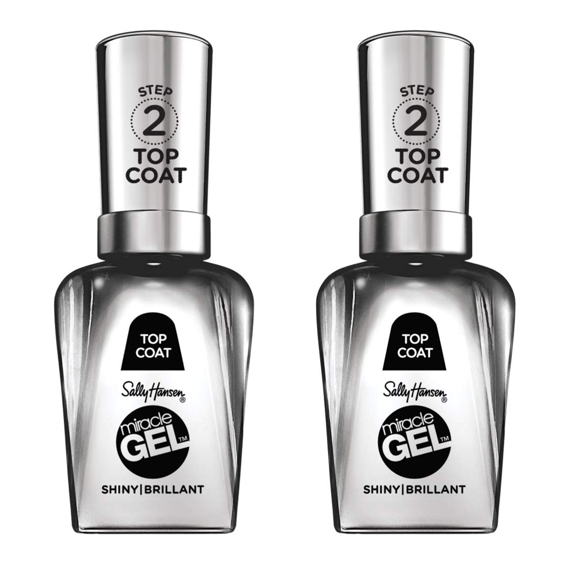 Sally Hansen Miracle Gel Nail Polish - Shiny Top Coat Duo Pack (Packaging May Vary)