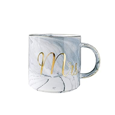 Mr Mrs Ceramic Coffee Mugs Gift Prime - Gold & Marble Cups for Wedding Engagement and Couples Anniversary - 11.5 oz (MRS(Grey),Set of 1)