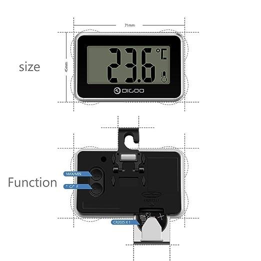 Compra DIGOO 2X DG-TH 1100 Termómetro Digital LCD, termómetro Interior, Monitor de Temperatura con diseño de imán de Gancho para Cocina, hogar Negro y Plata ...