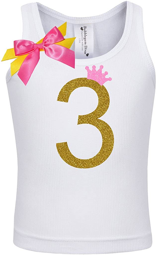 Bubblegum Divas Little Girls 3rd Birthday Pink Gold Princess Shirt