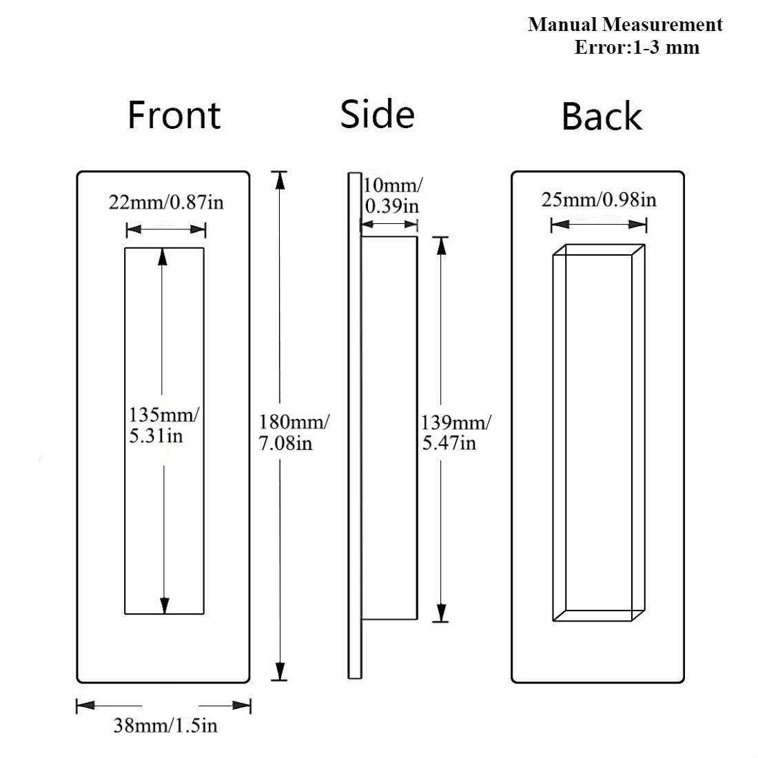 LWZH Sliding Barn Door Flush Handle 7.08 Invisible Recessed/Finger Pull for Cabinets Closet Drawers Rectangular Matte Black Free Sharp Edge