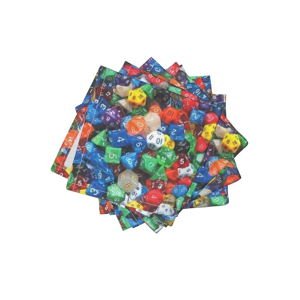 Roostery Polyhedron Linen Cotton Cloth Cocktail Napkins - Photographic Game Polyhedral Gaming Dungeons and Dragons Dice by Weavingmajor (Set of 4) 10 x 10in