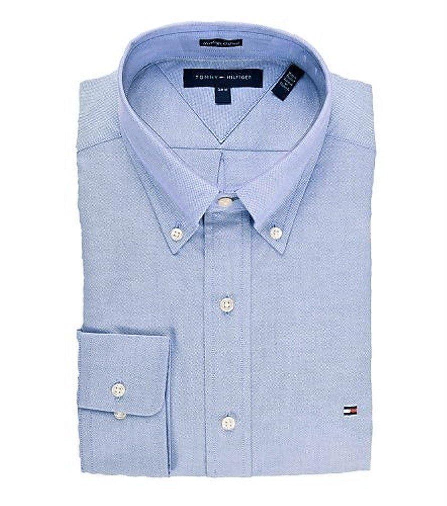 Tommy Hilfiger Mens Slim Fit Heritage Oxford Blue Dress Shirt Size