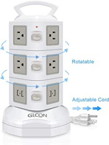 Power Strip Surge Protector - GLCON Power Strip Tower with 4 USB Slot + 10 Outlet Plugs + 6ft Long Extension Cord - Universal Charging Station Vertical Socket for Electric Appliance Device (White)