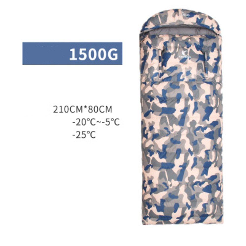 屋外 キャンプ ダウン 寝袋 シュラフ,大人 超軽量 グース羽毛 厚く 迷彩 封筒 寝袋屋外 軽量ポータブル B07DR7R4ZY N N
