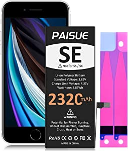 Battery for iPhone SE, PAISUE 2320mAh High Capacity Replacement Battery for iPhone SE 1st Generation, New 0 Cycle Li-Polymer Battery(Not for SE 2020)[No Tools]