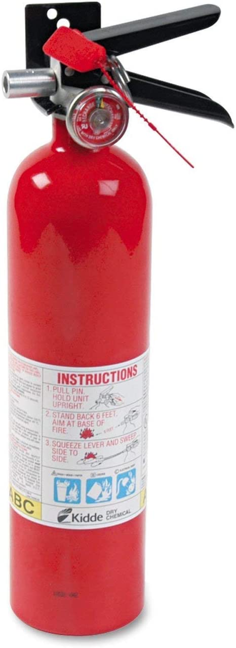 Kidde 466227 ABC Pro Multi-Purpose Dry Chemical, Commerical and Industrial Fire Extinguisher, UL Rated 1-A, 10-B:C, Pack of 8