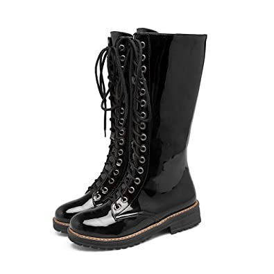 a4cd70c9d11 Caddy Wolfclaw Women Winter Fur Lined Snow Boots Lace Up Wide Calf Boots  Mid Calf Boots