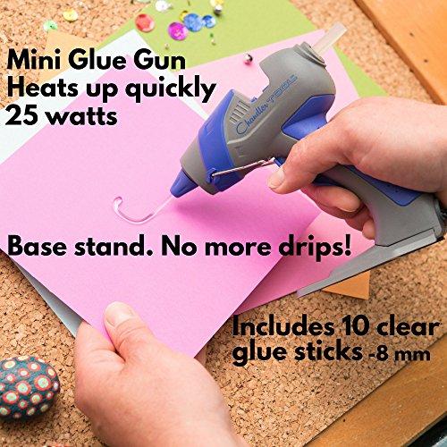Chandler Tool Mini Glue Gun - 25 Watt - Hot Glue Sticks & Patented Base Stand Included - for Arts Crafts School Home Repair DIY
