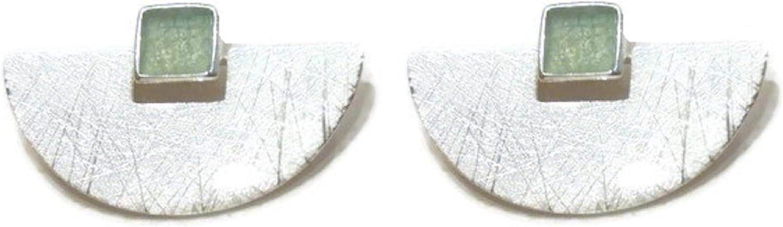Bijoux demylene - Pendientes para mujer en forma de media luna de plata de ley 925, acabado cepillado con una pequeña piedra cuadrada natural aventurina verde (minerales) estilo bohemio