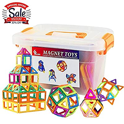 GLOUE Magnetic Blocks, Building Blocks,Magnetic Toy contain Square, Triangle, Large Triangle Magnets Toys for Girls & Boys - Deluxe Set (64pcs) (All Building Blocks) from GLOUE