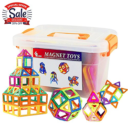 GLOUE Magnetic Stacking Tiles, Building Blocks, Square, Triangle, Large Triangle Magnets Toys for Girls & Boys - Deluxe Set (64pcs) (64) (Big Boys Toys For)
