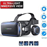 """EDGEMETER VR SHINECON 6.0, 4th Generation 3D Virtual Reality Headset with Stereo Headphonefor 3.5"""" -6.0"""" Smart Phone(Black)"""
