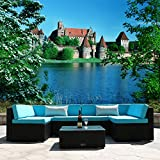 Yardeen 7 PC Rattan Wicker Sectional Sofa Set Backyard Furniture Kit Indoor and Outdoor with Tea Table Color Blue Review