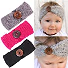 Baby Girl Headbands With Button Perfect for Newborns/Toddlers Cute Knotted Knitting Headwrap (3-Button knit Set1)
