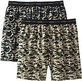 Hanes Men's 2-Pack Exposed Waistband Woven Camo Boxers, Camo Print, Medium