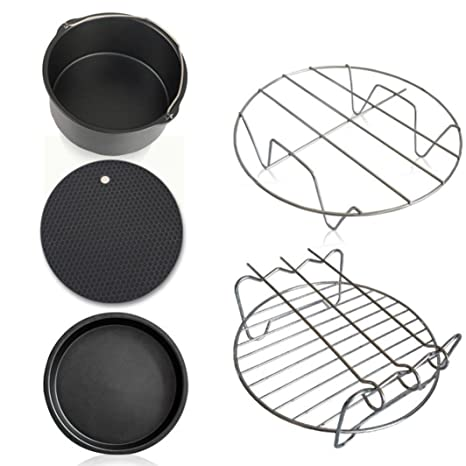 Gessppo Molde de pastel Air Frying Pan Accessories 5pcs Fryer Baking Basket Pizza Plate Grill Pot