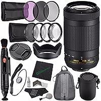 Nikon AF-P DX NIKKOR 70-300mm f/4.5-6.3G ED VR Lens + 58mm 3 Piece Filter Set (UV, CPL, FL) + LENS CAP 58MM + 58mm Lens Hood + Lens Pen Cleaner + Microfiber Cleaning Cloth + Lens Cap Keeper Bundle