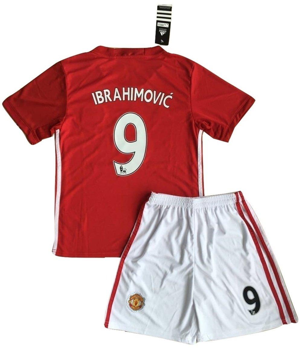 Zlatan Ibrahimovic # 92016–2017Manchester United Home Maglia e Pantaloncini per Giovani/Bambini ZPI