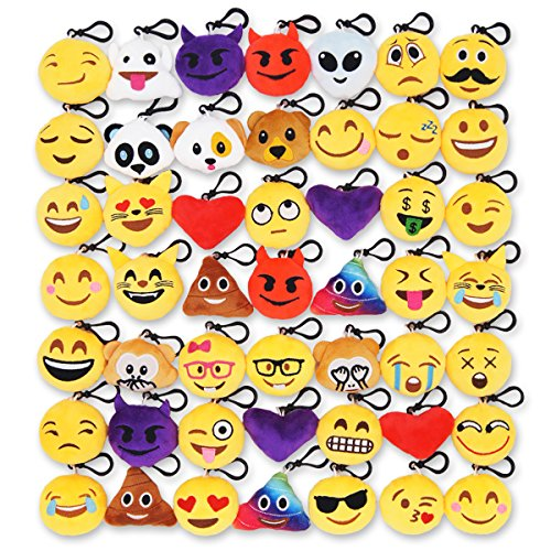 Ivenf Pack of 50 5cm/2'' Emoji Poop Plush Keychain Birthday Party Favors Supplies Mini Pillows Set, Emoticon Backpack Clips, Goodie Bag Stuffers Pinata Fillers Novelty Gifts Toys Prizes for Kids by Ivenf (Image #1)