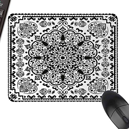 HMdy88PT Floral Lace Paisley Mehndi Design Tribal Lace Image Art Print Anime Mouse padand W16 x23.5 Black and White