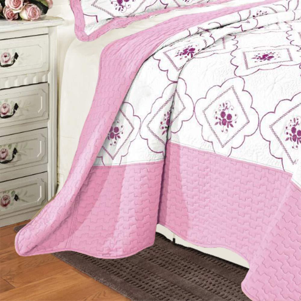2/taies doreiller Motifs floraux rose Parure de lit avec 3/pi/èces en polycoton brod/é Coton Double Couvre-lit matelass/é