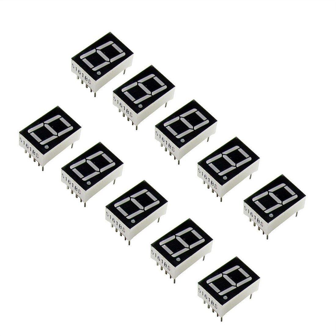 oiyagai 10/Pcs Gemeinsame Kathode 10-poligen 1/Bit 7/Segment 1,4/cm Rot LED Display Digital Tube Common Cathode