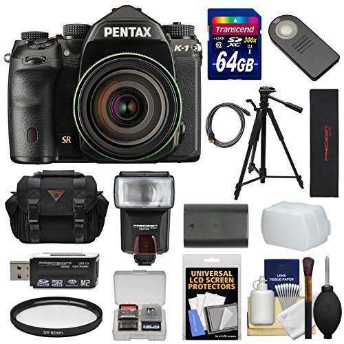 Pentax K-1 Mark II Full Frame Wi-Fi Digital SLR Camera & FA 28-105mm Lens with 64GB Card + Battery + Flash + Case + Tripod + Kit (Pentax Video Cable)