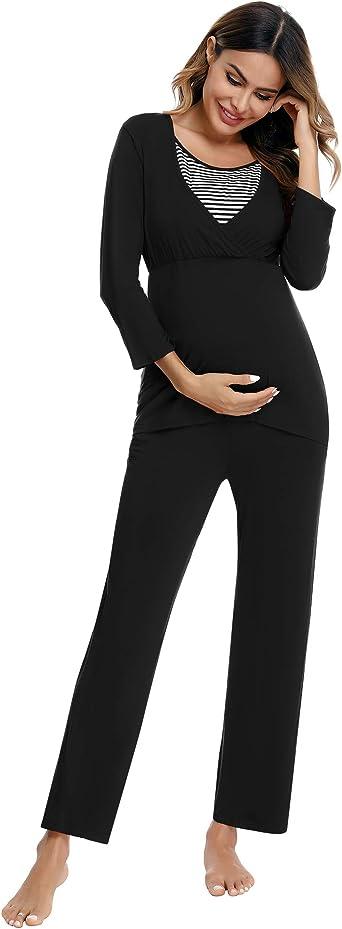 Akalnny Pijamas Premamá Invierno Algodón Manga Larga Ropa Lactancia Mujer Maternidad Conjunto de Embarazadas Amamantar Camisa y Pantlón