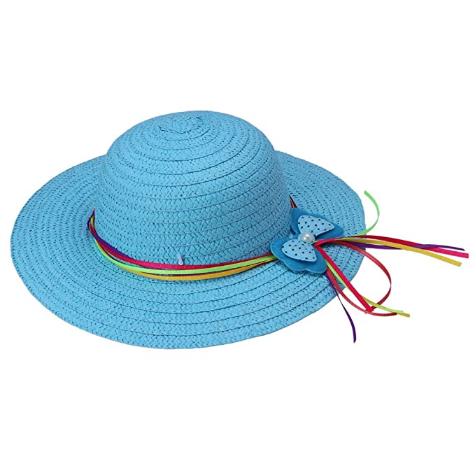 85f4306718e Bigood Girls Summer Sun Beach Floppy Derby Hat Ribbon Straw Flower Cap Blue