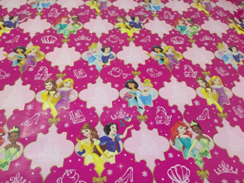 Christmas Wrapping Princess Holiday Paper Gift Greetings Sleeping Beauty Belle Cinderella Tiana 1 Roll Design Festive Wrap Disney Pink Castle (Pink Cling Wrap)