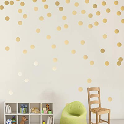 Easy Peel + Stick Gold Wall Decal Dots - 2 Inch (200 Decals) - Safe on Walls & Paint - Metallic Vinyl Polka Dot Decor-Round Circle Art Glitter Stickers- Baby Nursery Room: Home & Kitchen
