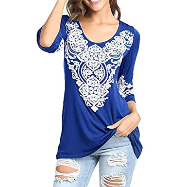 NREALY Womens Three Quarter Boho Tunic Shirts Heart Printed Tops Tee T-Shirt Blouses(