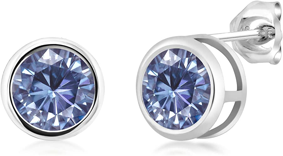 925 Sterling Silver Stud Earrings Blue Round Created Moissanite 2.00ct DEW